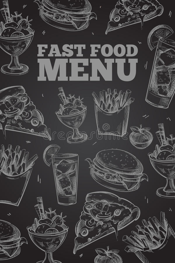Συρμένο χέρι διανυσματικό γρήγορο φαγητό στον πίνακα κιμωλίας στα εκλεκτής ποιότητας στοιχεία ύφους για τις επιλογές εστιατορίων ελεύθερη απεικόνιση δικαιώματος
