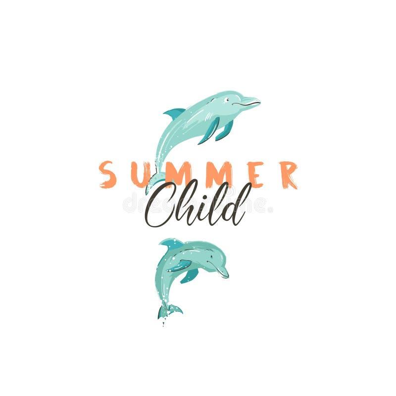 Συρμένο χέρι διανυσματικό δημιουργικό σημάδι θερινού χρόνου κινούμενων σχεδίων ή logotype με τα δελφίνια άλματος και το σύγχρονο  ελεύθερη απεικόνιση δικαιώματος