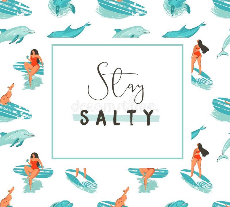 Συρμένο χέρι διανυσματικό πρότυπο αφισών διασκέδασης θερινού χρόνου κινούμενων σχεδίων με τα κορίτσια surfer και modert παραμονή  απεικόνιση αποθεμάτων
