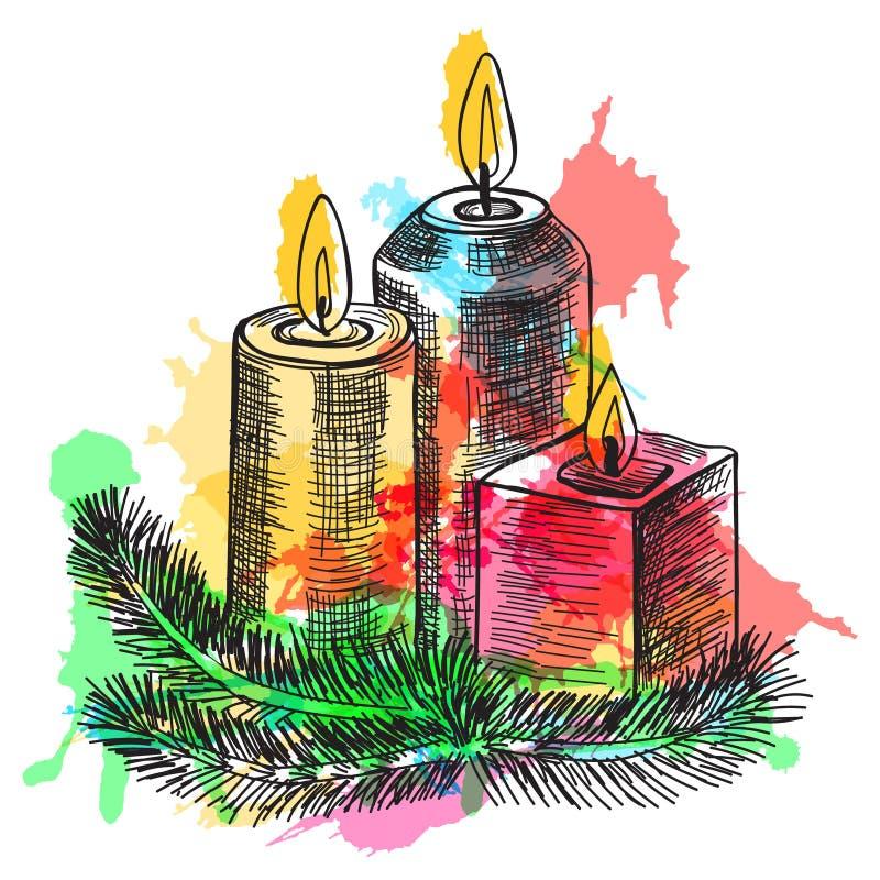 Συρμένο χέρι καίγοντας κερί σκίτσων στο κηροπήγιο Χριστουγέννων των κλάδων έλατου επίσης corel σύρετε το διάνυσμα απεικόνισης ελεύθερη απεικόνιση δικαιώματος