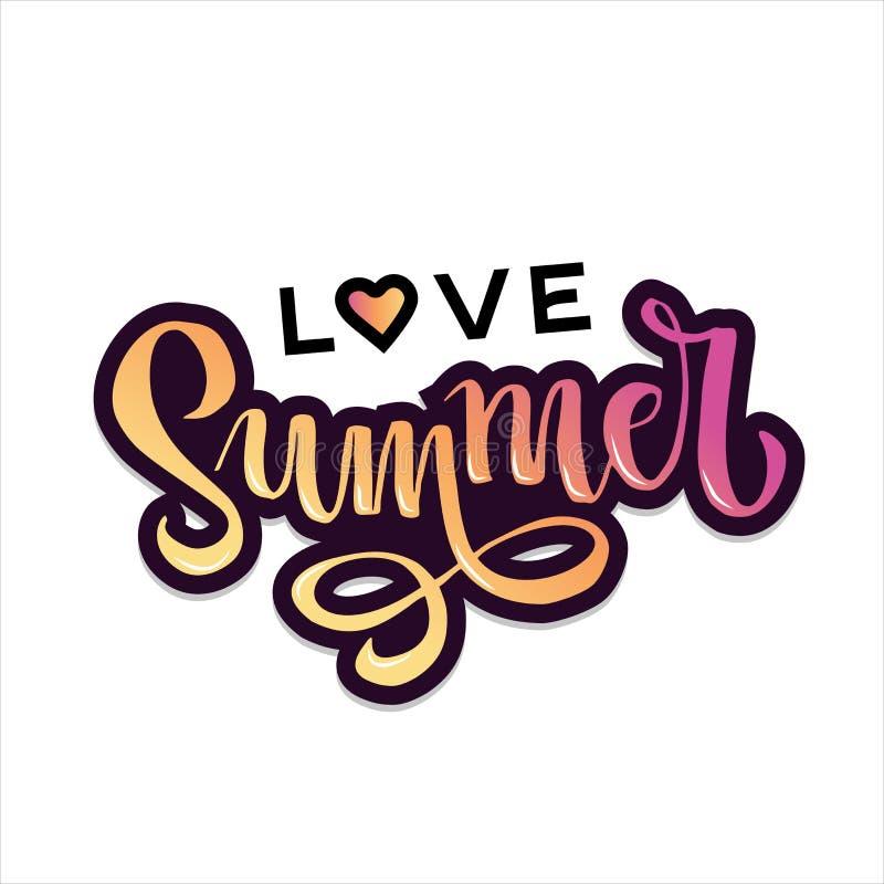 Συρμένο χέρι καλοκαίρι αγάπης εγγραφής με την καρδιά στην παγκόσμια αγάπη και τη ρόδινη κίτρινη κλίση Αφηρημένη κάρτα σχεδίου για ελεύθερη απεικόνιση δικαιώματος