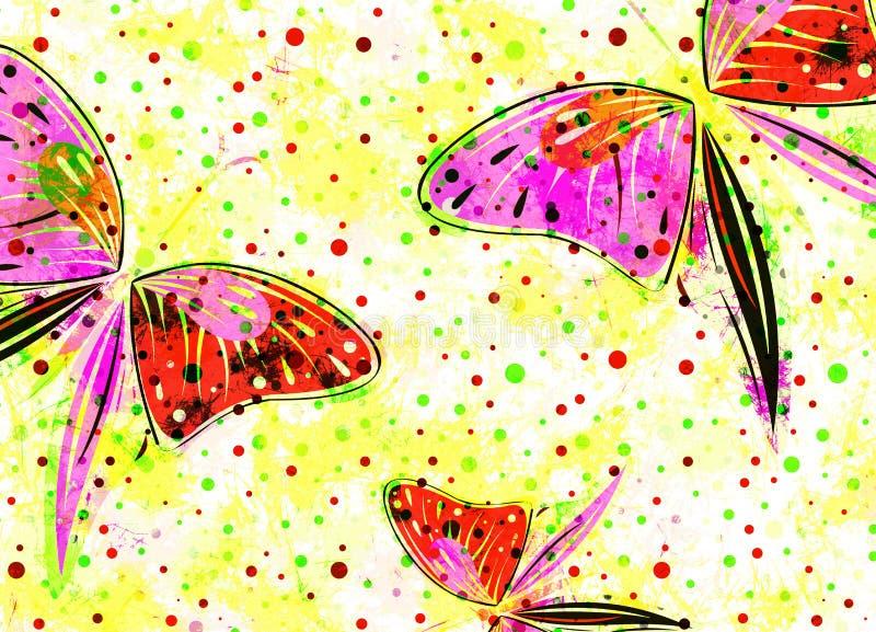 Συρμένο χέρι κατασκευασμένο καλλιτεχνικό υπόβαθρο με το έντομο Δημιουργική ταπετσαρία με τις πεταλούδες στα χρώματα ουράνιων τόξω ελεύθερη απεικόνιση δικαιώματος