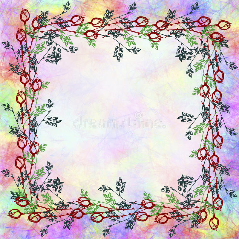 Συρμένο χέρι κατασκευασμένο floral υπόβαθρο Εκλεκτής ποιότητας κάρτα με τα τριαντάφυλλα και τα φύλλα Πρότυπο για την επιστολή ή τ ελεύθερη απεικόνιση δικαιώματος