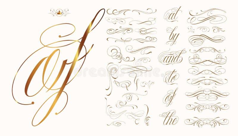 Συρμένο χέρι καλλιγραφικό σύνολο διανυσματική απεικόνιση
