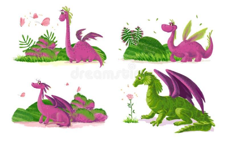 Συρμένο χέρι καλλιτεχνικό αστείο πορτρέτο δεινοσαύρων με τα στοιχεία φύσης απεικόνιση αποθεμάτων