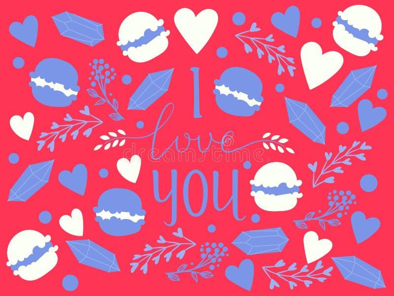 Συρμένο χέρι κείμενο καλλιγραφίας σ' αγαπώ για την ημέρα βαλεντίνων, το γάμο, τη χρονολόγηση και άλλη και άλλο ρομαντικό έμβλημα  ελεύθερη απεικόνιση δικαιώματος