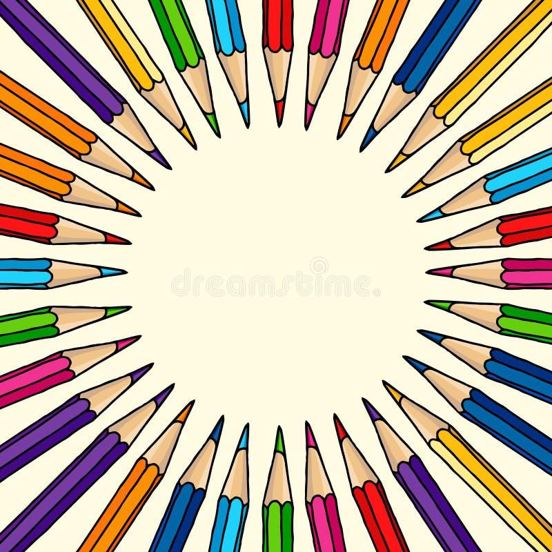 Συρμένο χέρι κενό πλαίσιο μολυβιών χρώματος απεικόνιση αποθεμάτων