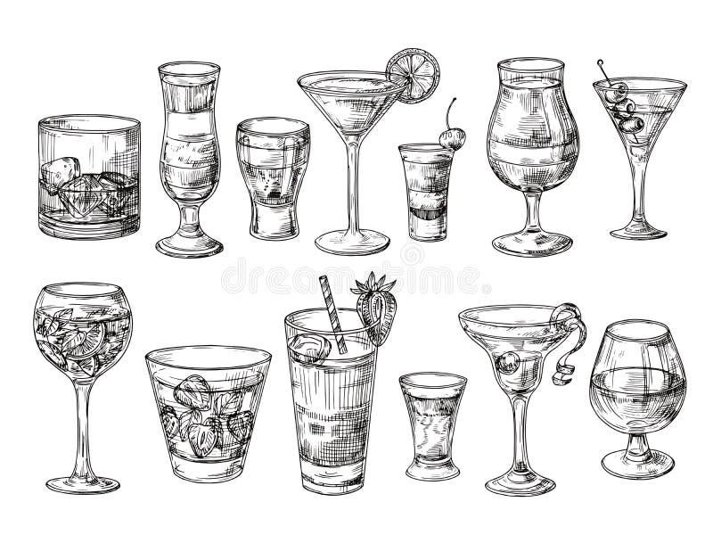 Συρμένο χέρι κοκτέιλ Οινοπνευματώδη ποτά στα γυαλιά Χυμός σκίτσων, Μαργαρίτα martini Κοκτέιλ με το ρούμι, διάνυσμα ουίσκυ τζιν διανυσματική απεικόνιση