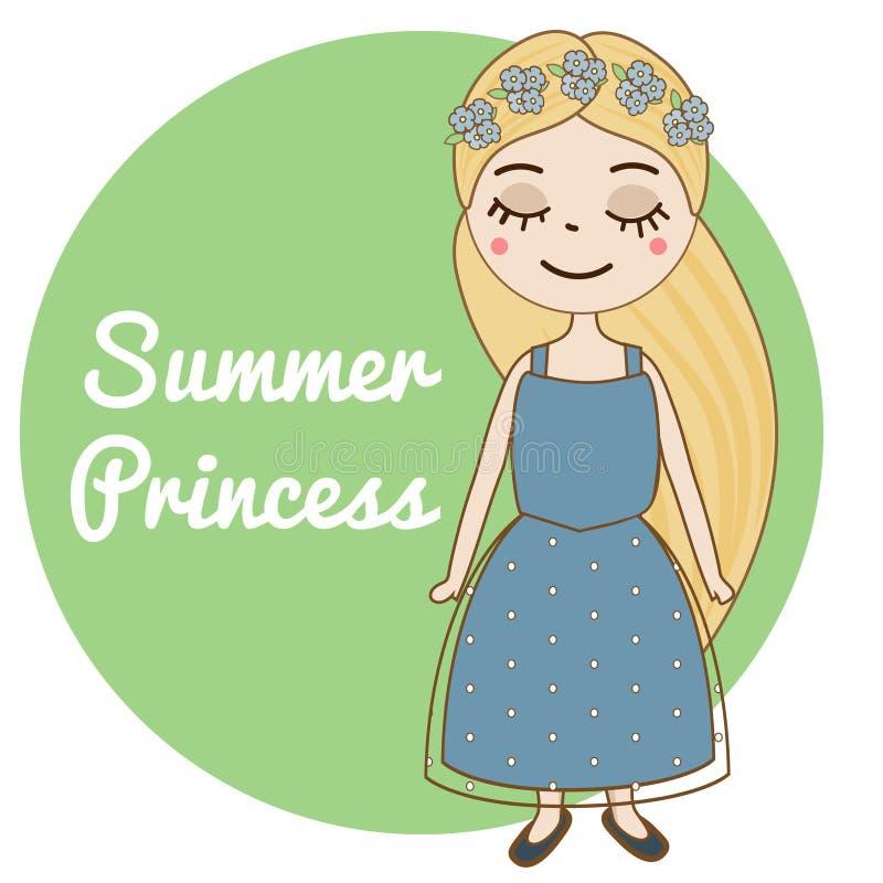 Συρμένο χέρι κορίτσι με το μακρύ ξανθό στεφάνι λουλουδιών τρίχας και forget-me-not Όμορφο παιδί στο μπλε θερινό φόρεμα Χαριτωμένο ελεύθερη απεικόνιση δικαιώματος