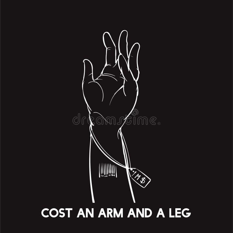 Συρμένο χέρι κόστος ένας βραχίονας και ένα πόδι ελεύθερη απεικόνιση δικαιώματος