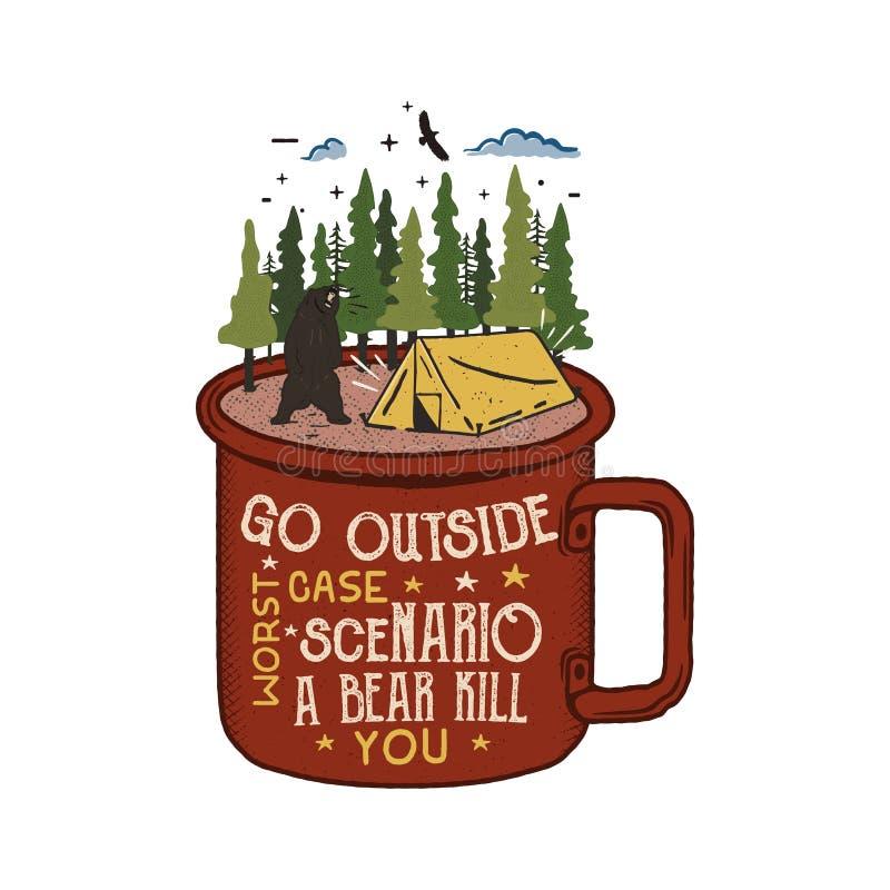 Συρμένο χέρι λογότυπο περιπέτειας με την κούπα, τη σκηνή στρατόπεδων, το δάσος δέντρων πεύκων και το απόσπασμα - πηγαίνετε έξω απ διανυσματική απεικόνιση