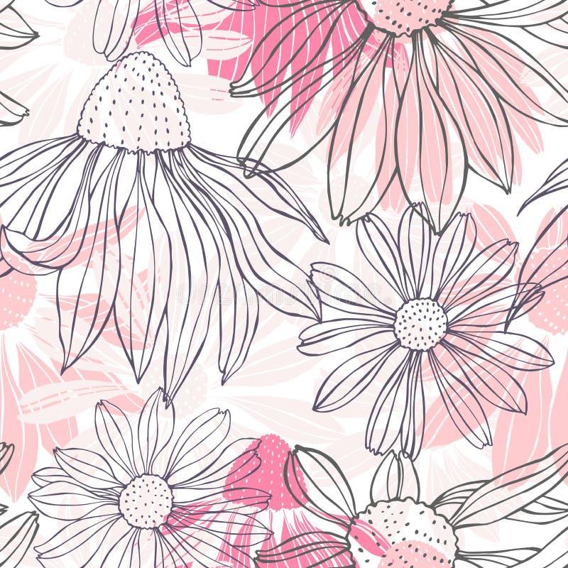 συρμένο χέρι λουλουδιών άνευ ραφής διάνυσμα προτύπων διανυσματική απεικόνιση
