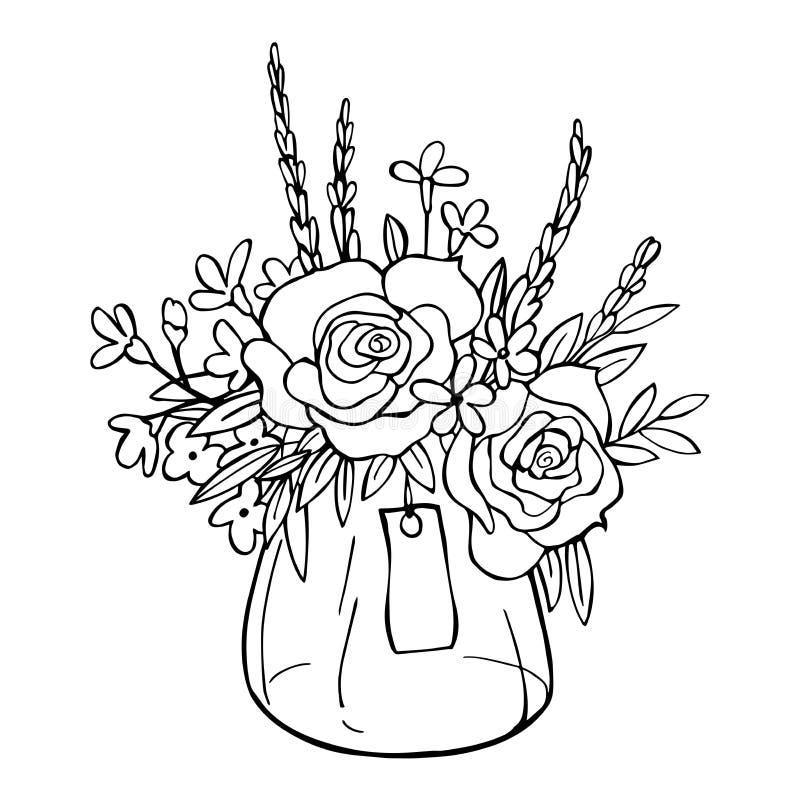 συρμένο χέρι λουλουδιών Διανυσματική απεικόνιση σκίτσων ελεύθερη απεικόνιση δικαιώματος