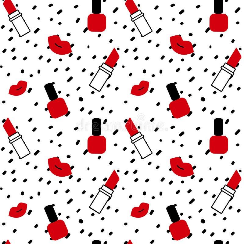 Συρμένο χέρι μαύρο κομφετί στην άσπρη απεικόνιση σχεδίων υποβάθρου απλή αφηρημένη άνευ ραφής διανυσματική με τα κόκκινα χείλια, τ απεικόνιση αποθεμάτων