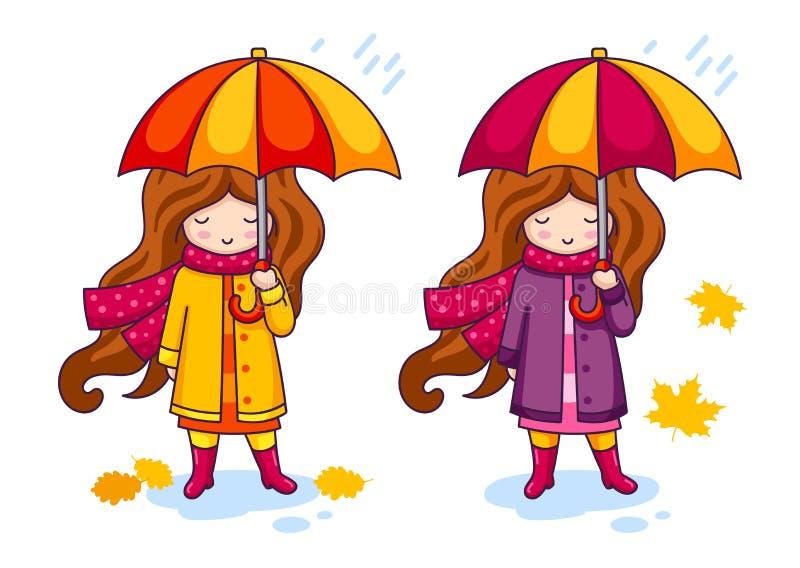Συρμένο χέρι μικρό κορίτσι με τη ζωηρόχρωμη ομπρέλα και ένα μεγάλο πλεκτό μαντίλι απεικόνιση αποθεμάτων