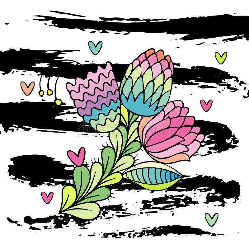 Συρμένο χέρι μοντέρνο διάνυσμα λουλουδιών διανυσματική απεικόνιση