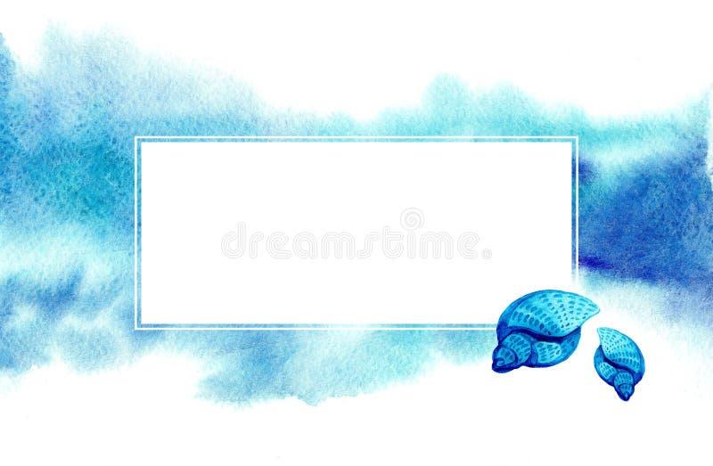 Συρμένο χέρι μπλε θολωμένο υπόβαθρο watercolor και άσπρο πλαίσιο με τα μπλε θαλασσινά κοχύλια ελεύθερη απεικόνιση δικαιώματος