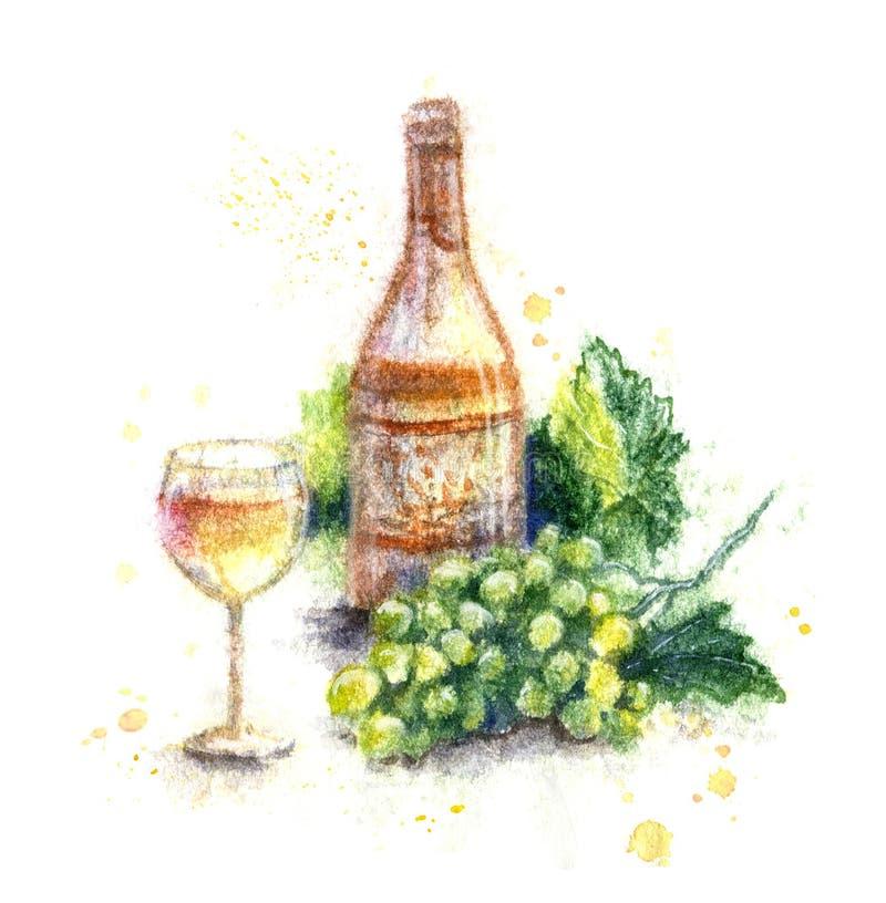 Συρμένο χέρι μπουκάλι του κρασιού και των σταφυλιών ελεύθερη απεικόνιση δικαιώματος