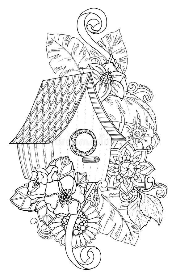 Συρμένο χέρι να τοποθετηθεί περιλήψεων κιβώτιο που διακοσμείται με τη floral διακόσμηση διανυσματική απεικόνιση
