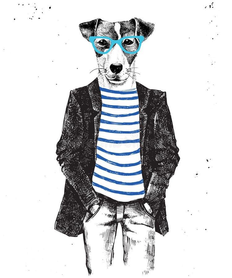 Συρμένο χέρι ντυμένο επάνω σκυλί στο ύφος hipster ελεύθερη απεικόνιση δικαιώματος