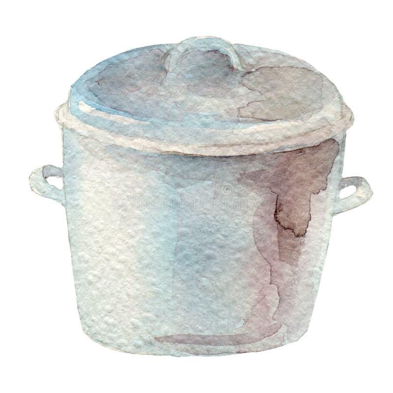 Συρμένο χέρι δοχείο watercolor στο άσπρο υπόβαθρο Σειρά εργαλείων κουζινών ελεύθερη απεικόνιση δικαιώματος