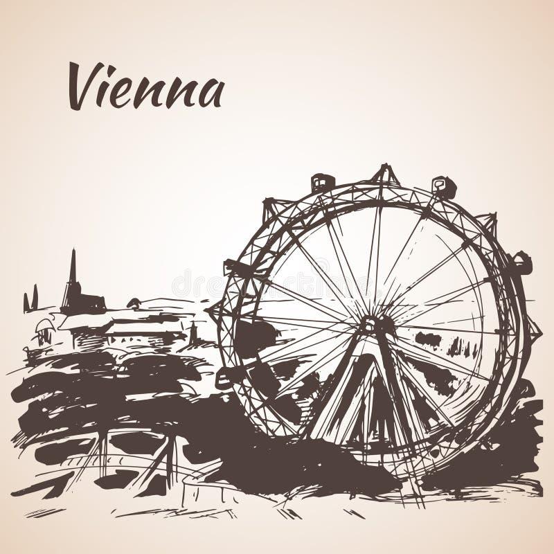 Συρμένο χέρι λούνα παρκ της Βιέννης διανυσματική απεικόνιση