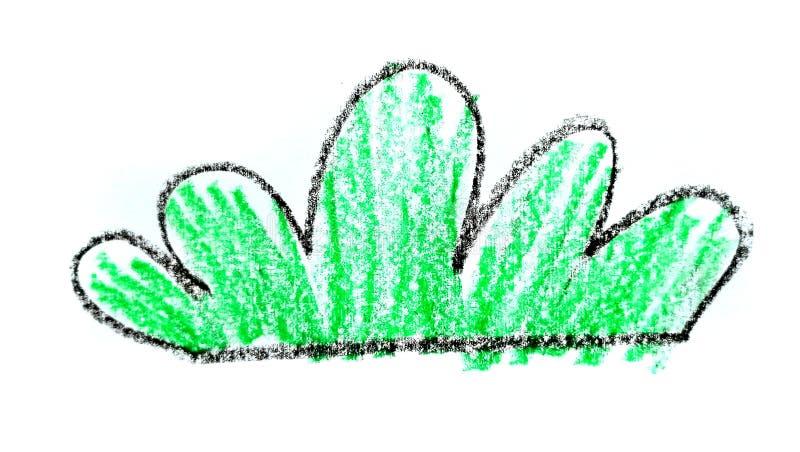 Συρμένο χέρι παιδιάστικο κινούμενων σχεδίων στοιχείο χλόης κραγιονιών πράσινο ελεύθερη απεικόνιση δικαιώματος