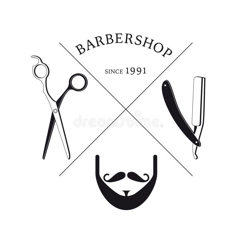 Συρμένο χέρι πρότυπο Barbershop Logotype διανυσματική απεικόνιση