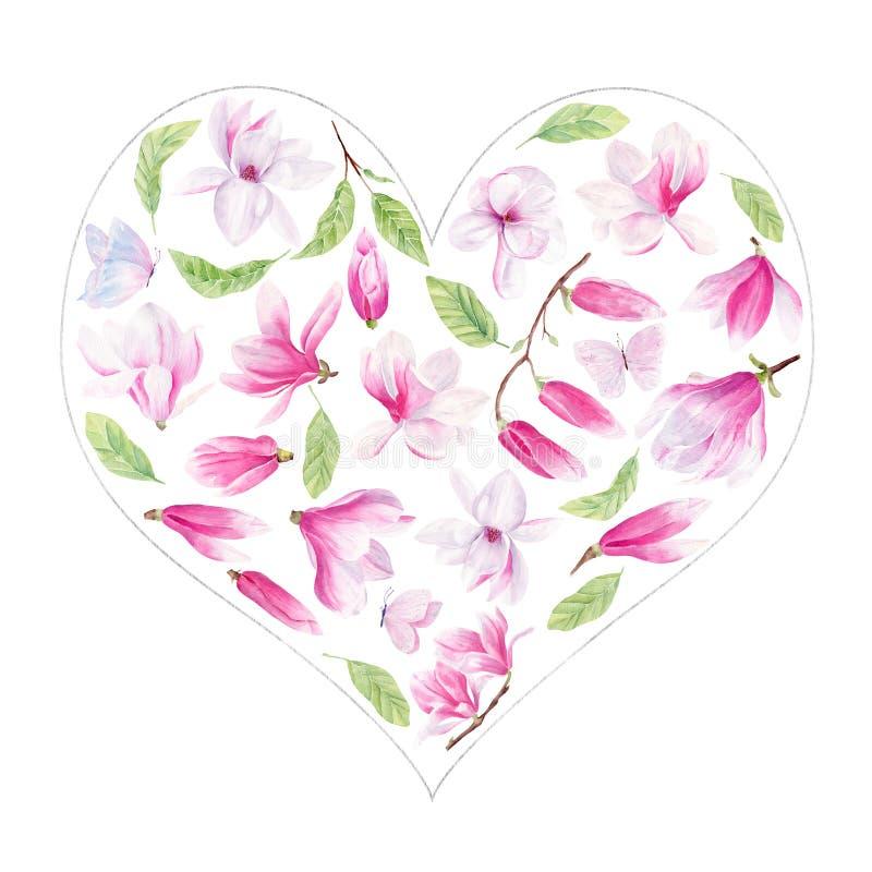 Συρμένο χέρι ράστερ watercolor Magnolia και πεταλούδων στο σύνολο πλαισίων ελεύθερη απεικόνιση δικαιώματος