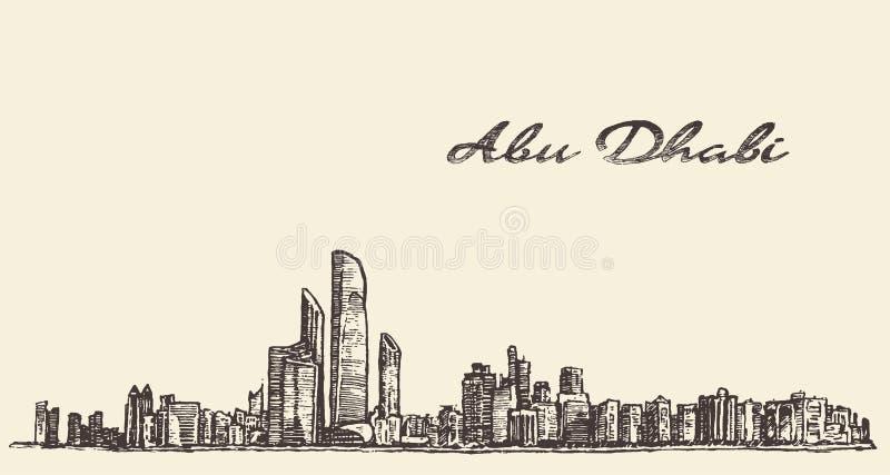 Συρμένο χέρι σκίτσο απεικόνισης οριζόντων του Αμπού Ντάμπι απεικόνιση αποθεμάτων