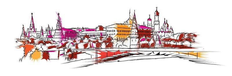 Συρμένο χέρι σκίτσο οριζόντων της Μόσχας διανυσματική απεικόνιση