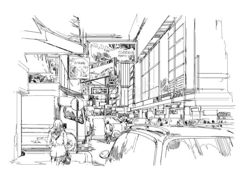 Συρμένο χέρι σκίτσο της σύγχρονης εικονικής παράστασης πόλης, αστική οδός πόλεων διανυσματική απεικόνιση