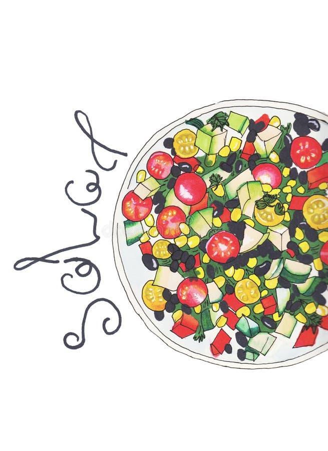 Συρμένο χέρι σκίτσο της φρέσκιας σαλάτας με τα πράσινα, ελιές, ντομάτες κερασιών, οργανική τροφή στοκ φωτογραφίες