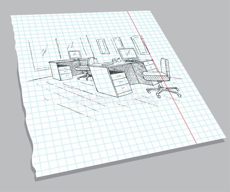 Συρμένο χέρι σκίτσο του εσωτερικού σε ένα φύλλο σημειωματάριων Γρήγορο σχέδιο της επίπλωσης γραφείων ελεύθερη απεικόνιση δικαιώματος