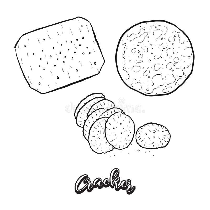 Συρμένο χέρι σκίτσο του ψωμιού κροτίδων ελεύθερη απεικόνιση δικαιώματος