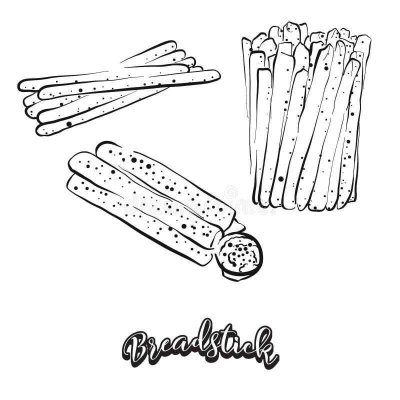 Συρμένο χέρι σκίτσο του ψωμιού Breadstick διανυσματική απεικόνιση