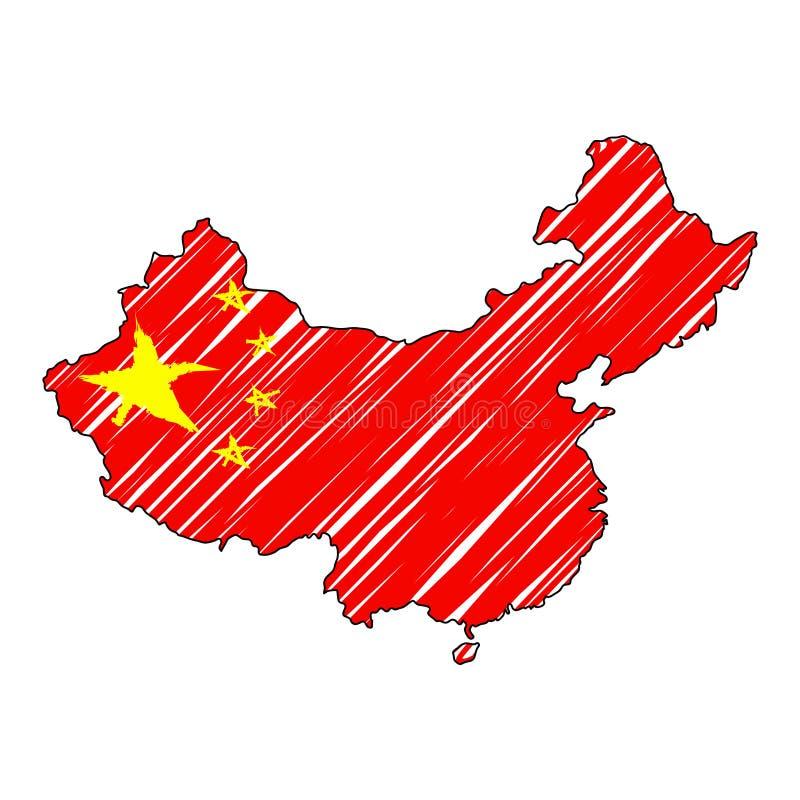 Συρμένο χέρι σκίτσο χαρτών της Κίνας Διανυσματική σημαία απεικόνισης έννοιας, σχέδιο των παιδιών, χάρτης κακογραφίας Χάρτης χώρας διανυσματική απεικόνιση