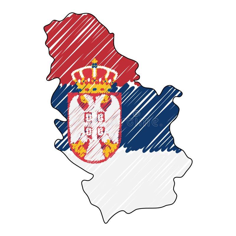 Συρμένο χέρι σκίτσο χαρτών της Σερβίας Διανυσματική σημαία απεικόνισης έννοιας, σχέδιο των παιδιών, χάρτης κακογραφίας Χάρτης χώρ απεικόνιση αποθεμάτων