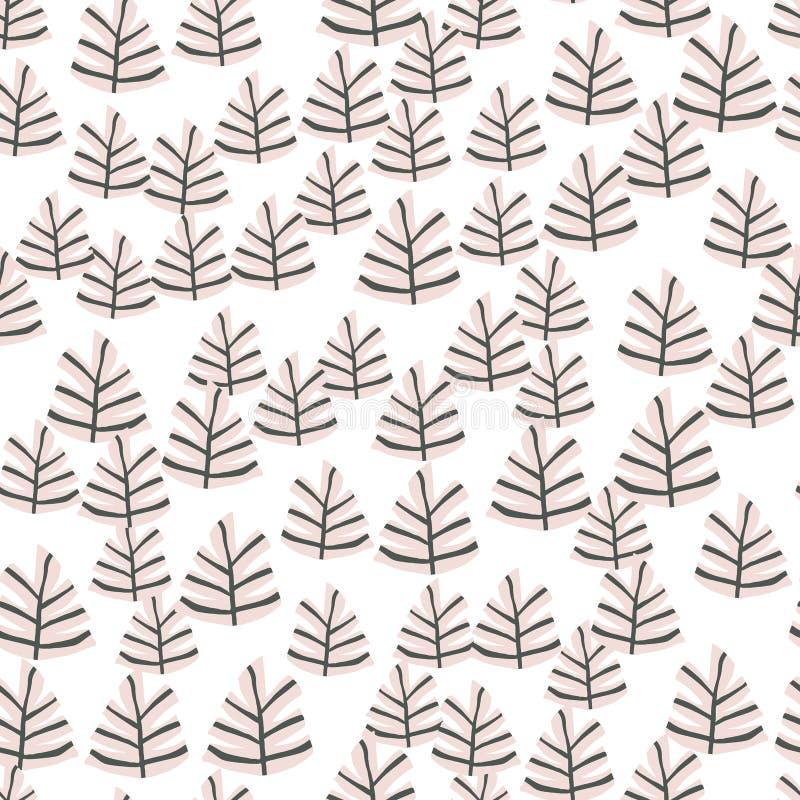 Συρμένο χέρι Σκανδιναβικό άνευ ραφής σχέδιο δέντρων Δασικό υπόβαθρο Doodle απεικόνιση αποθεμάτων