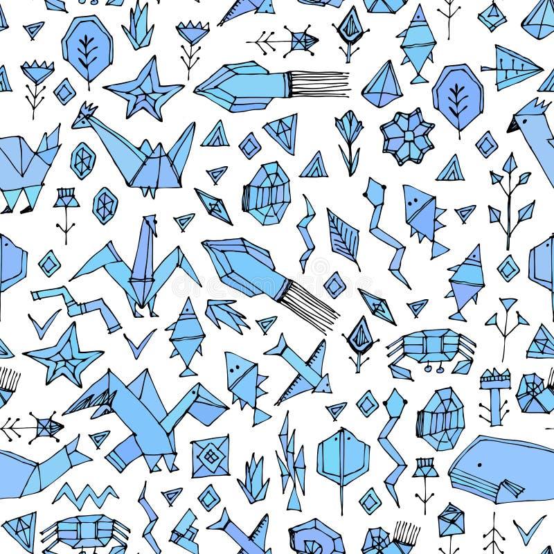 Συρμένο χέρι Σκανδιναβικό άνευ ραφής σχέδιο με τα θαλάσσια ζώα και τα φυτά, μαύρα διακοσμητικά σύγχρονα στοιχεία περιγραμμάτων τυ απεικόνιση αποθεμάτων