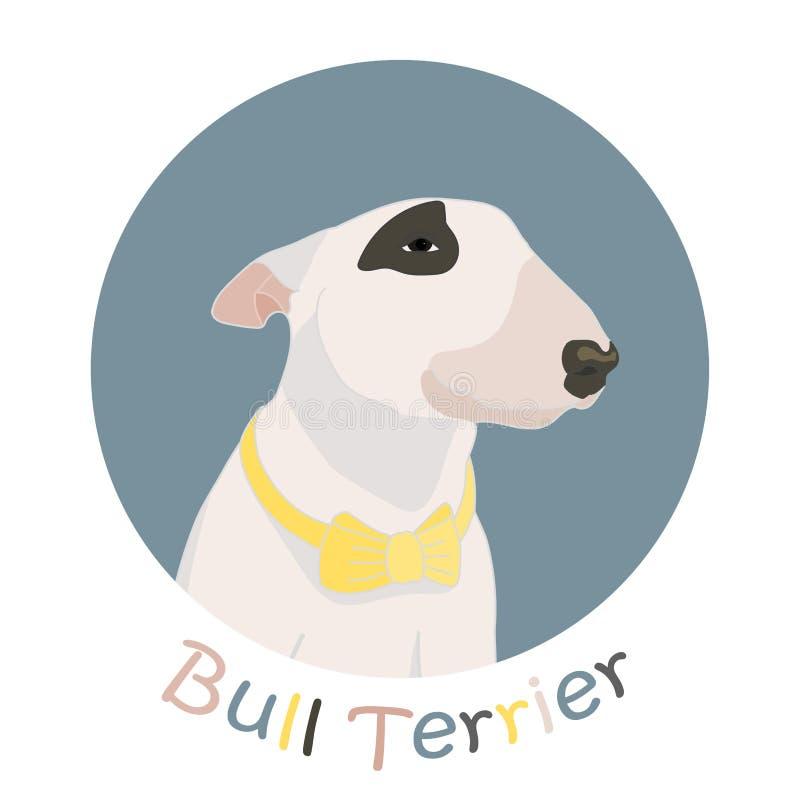 Συρμένο χέρι σκυλί τεριέ ταύρων με τον κίτρινο δεσμό τόξων επίσης corel σύρετε το διάνυσμα απεικόνισης απεικόνιση αποθεμάτων