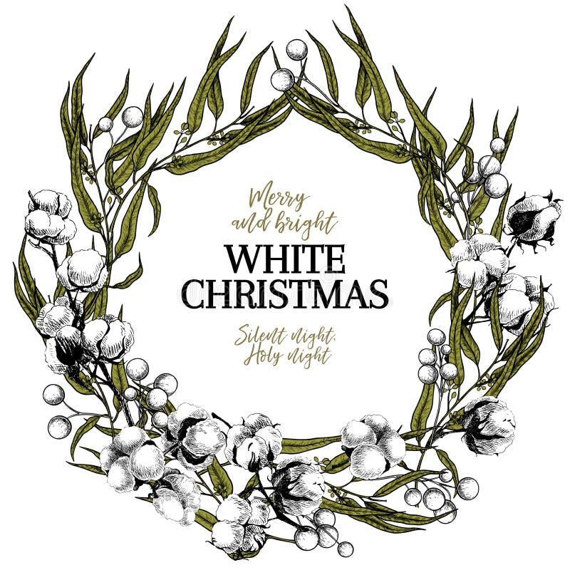 Συρμένο χέρι στεφάνι Χριστουγέννων λευκό Χριστουγέννων Ευκάλυπτος, βαμβάκι, γκι διάνυσμα μητέρων s ίριδων χαιρετισμού ημέρας καρτ απεικόνιση αποθεμάτων