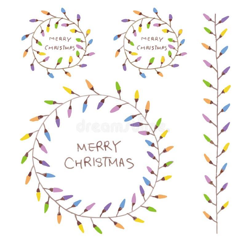 Συρμένο χέρι στεφάνι Χριστουγέννων με τις ζωηρόχρωμες λάμπες φωτός ελεύθερη απεικόνιση δικαιώματος