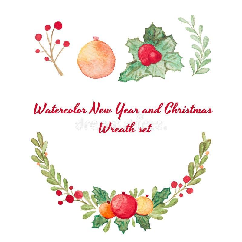 Συρμένο χέρι στεφάνι Χριστουγέννων ράστερ watercolor που τίθεται στο λευκό διανυσματική απεικόνιση