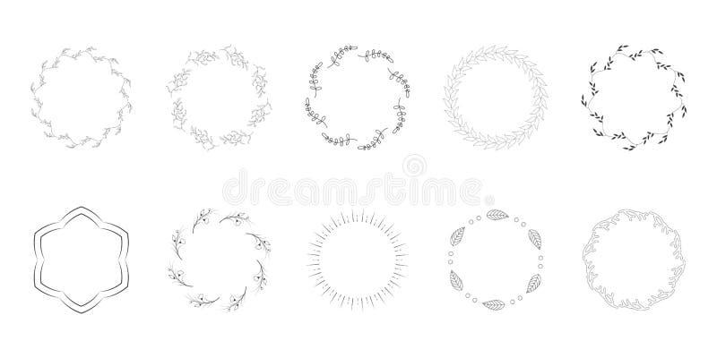 Συρμένο χέρι συνδετήρων τέχνης Floral πλαισίων διάνυσμα φύλλων στοιχείω ελεύθερη απεικόνιση δικαιώματος