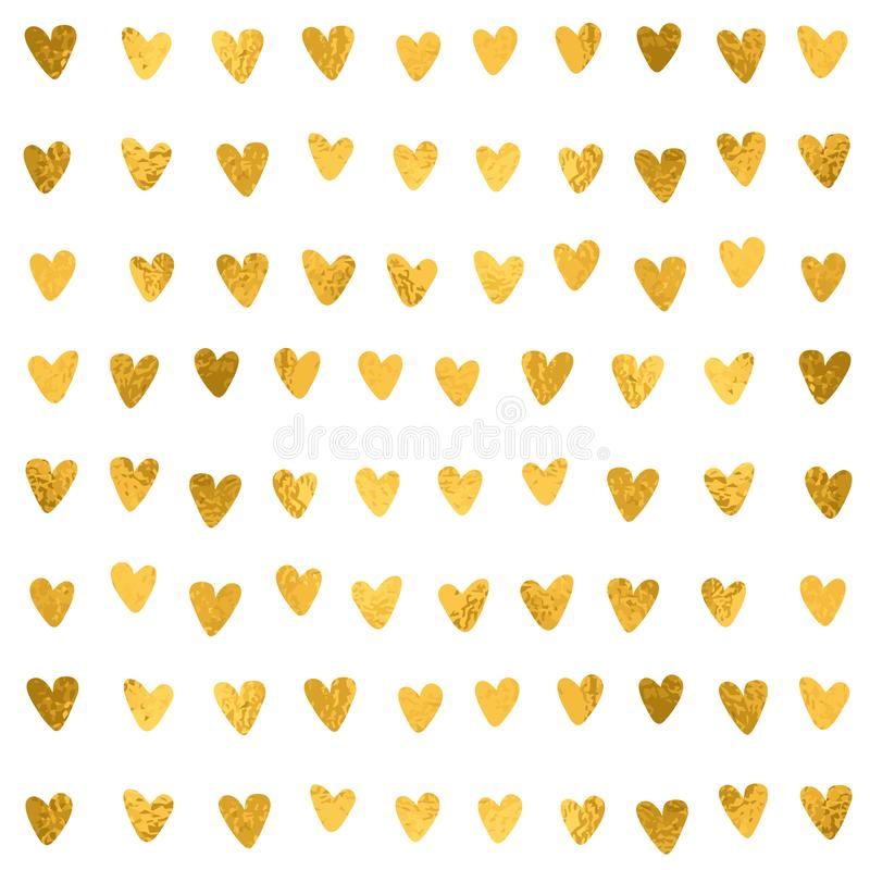 Συρμένο χέρι σχέδιο καρδιών Η χρυσή επίδραση φύλλων αλουμινίου, ακτινοβολεί σύσταση Διανυσματική έννοια αγάπης γαμήλιου σχεδίου γ ελεύθερη απεικόνιση δικαιώματος