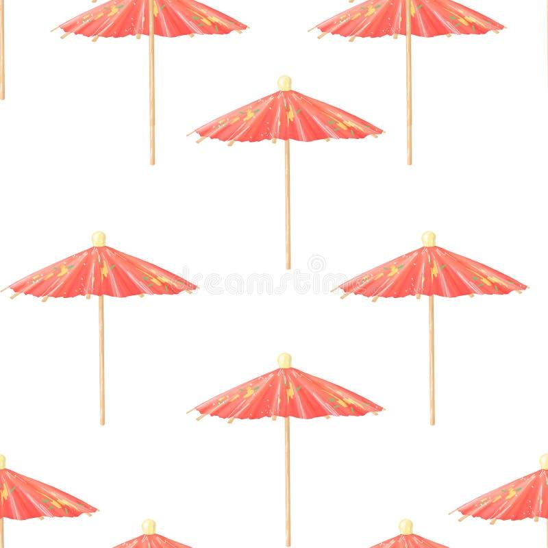 Συρμένο χέρι σχέδιο κινούμενων σχεδίων με τις χαριτωμένες αναδρομικές ομπρέλες παραλιών Απεικόνιση Watercolor στο άσπρο υπόβαθρο διανυσματική απεικόνιση