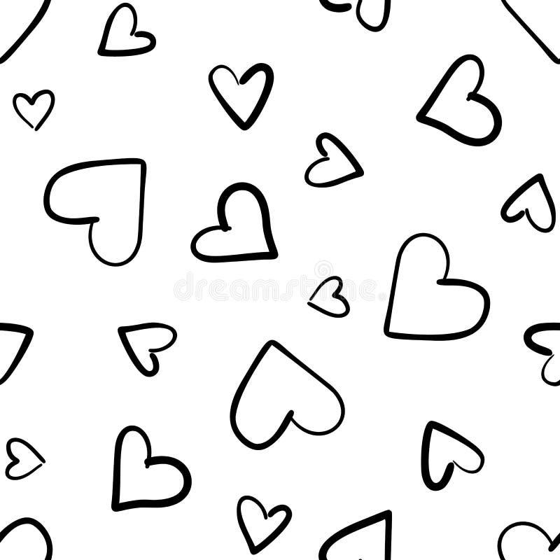 Συρμένο χέρι σχέδιο με τις καρδιές που απομονώνεται άνευ ραφής στο λευκό διανυσματική απεικόνιση