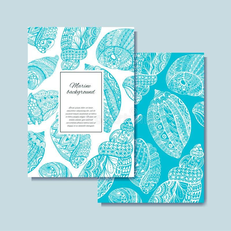 Συρμένο χέρι σχέδιο κοχυλιών θάλασσας για την κάρτα, έμβλημα, κάρτα ελεύθερη απεικόνιση δικαιώματος