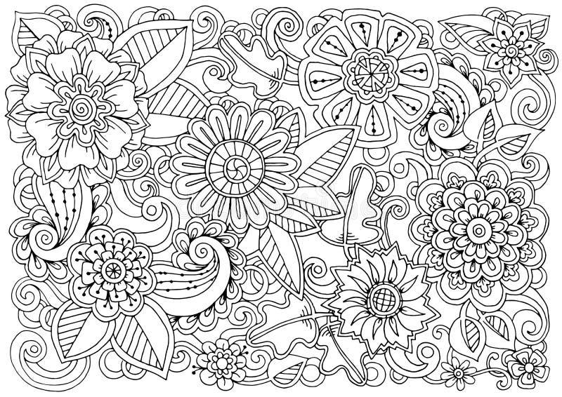 Συρμένο χέρι σχέδιο με τα λουλούδια απεικόνιση αποθεμάτων